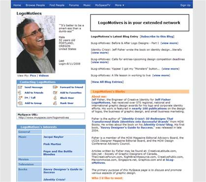 Image of LogoMotives MySpace page