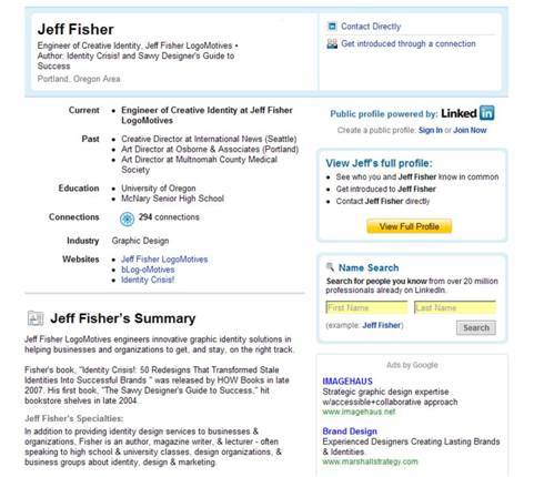 Image of Jeff Fisher's LinkedIn page